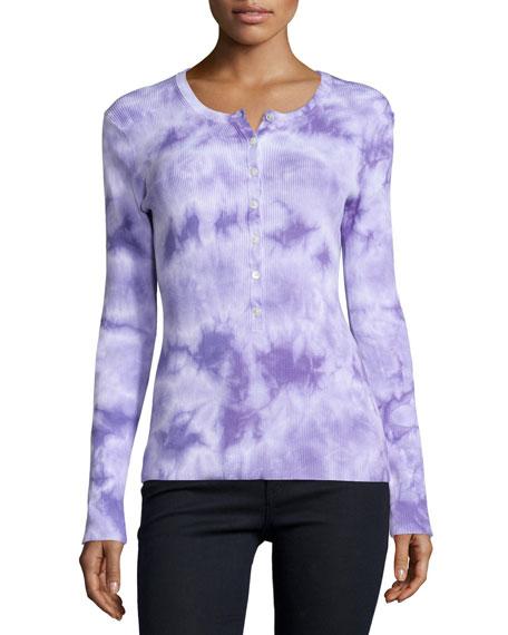 Michael Kors Collection Long-Sleeve Tie-Dye Henley Tee, Wisteria