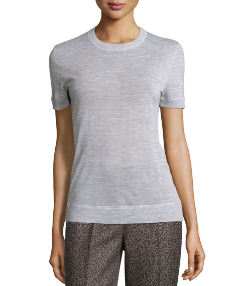 Michael Kors Collection Cashmere Short-Sleeve Tee, Pearl Gray