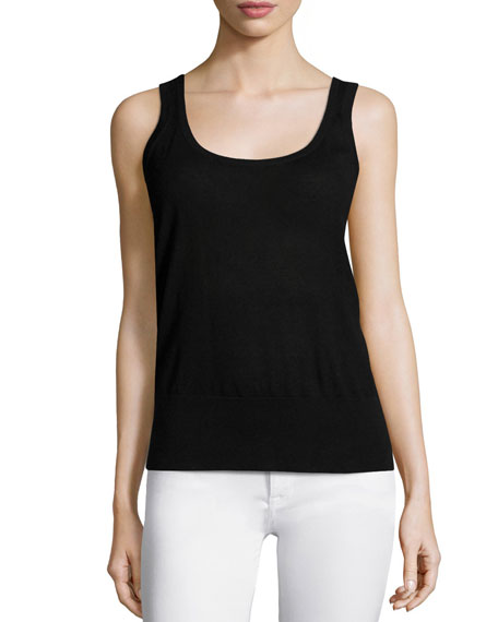 Michael Kors Collection Cashmere Scoop-Neck Tank, Black