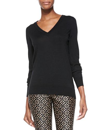 Cashmere-Blend Reverse-Cowl Sweater, Black