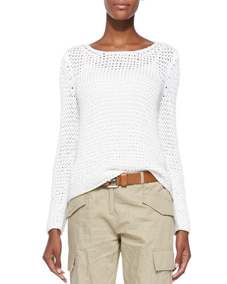 Long-Sleeve Boat-Neck Sweater, Optic White