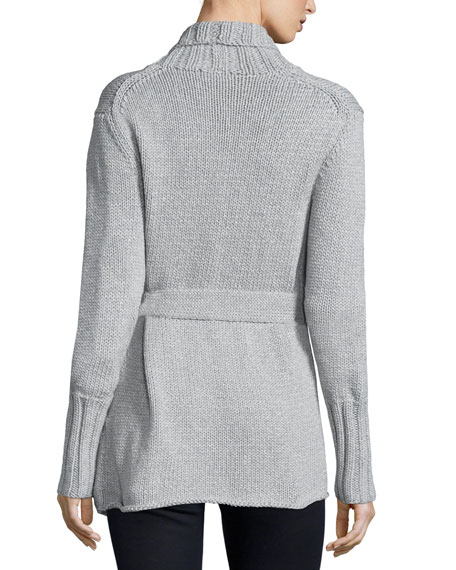 Long-Sleeve Belted Sweater, Pearl Gray