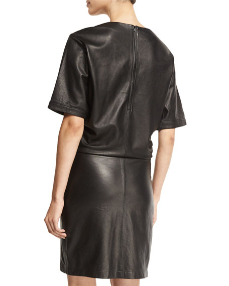 Leather Short-Sleeve Shirtdress, Noir