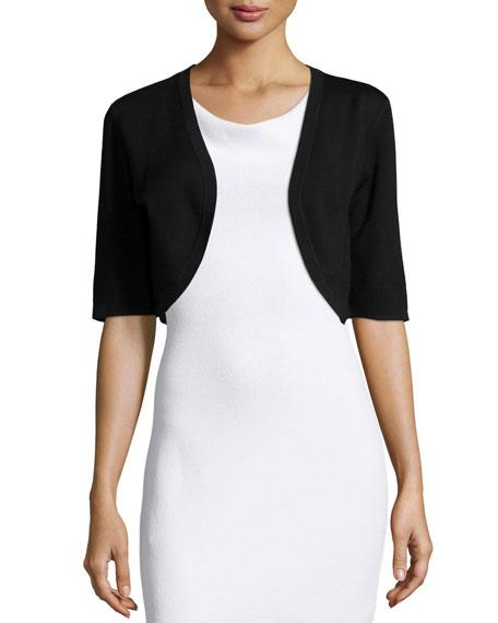 Michael Kors Half-Sleeve Wool Shrug, Black