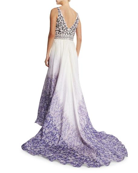 Sleeveless Embellished Floral Gown, Ultra Violet