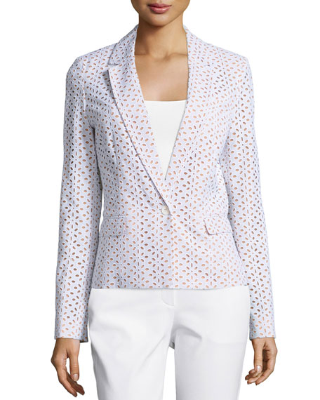 Michael Kors Collection One-Button Long-Sleeve Jacket, Optic White