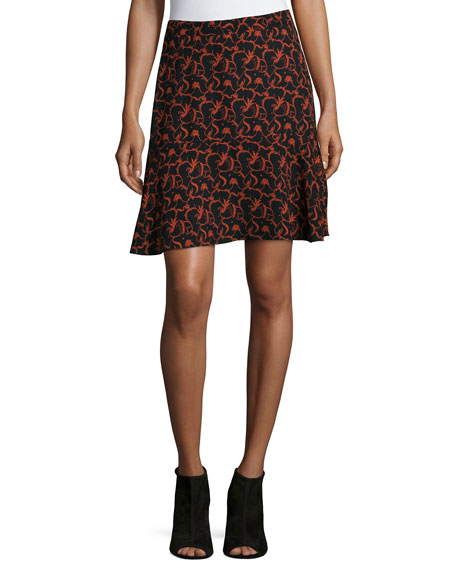 A.L.C. Parks Printed A-Line Skirt, Black/Rust