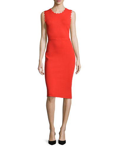 Aldridge Scalloped Sheath Dress, Red