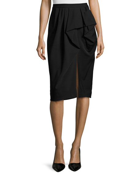Michael Kors Collection Draped Sarong Pencil Skirt, Black