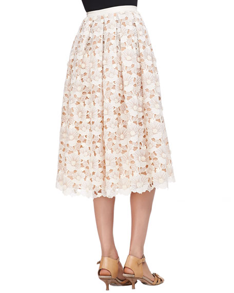 Floral Lace Mid-Calf Skirt, Muslin
