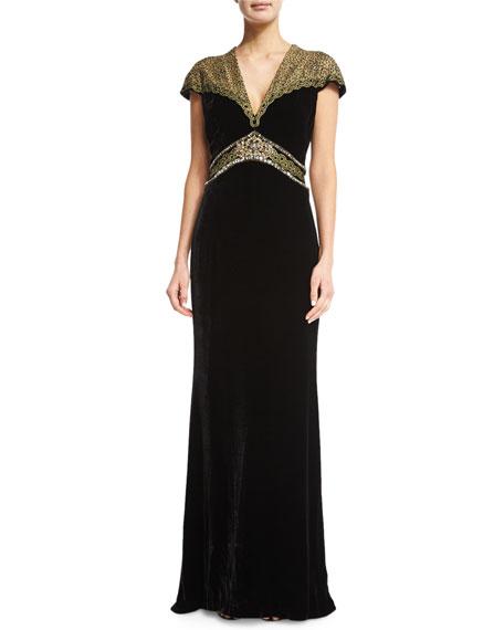Badgley Mischka Velvet Combo Gown, Black/Gold