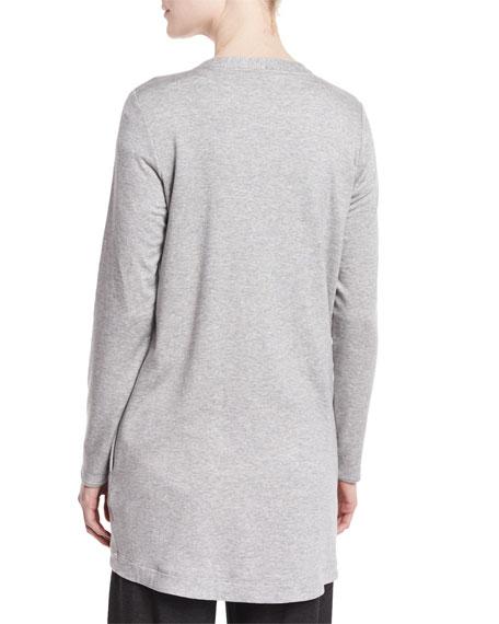 Eileen Fisher Long Fleece Cardigan, Plus Size