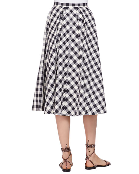 Macro Gingham Midi Skirt, Black/Muslin