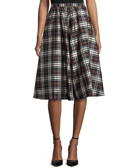 Michael Kors Plaid Dirndl Skirt, Black/Nutmeg