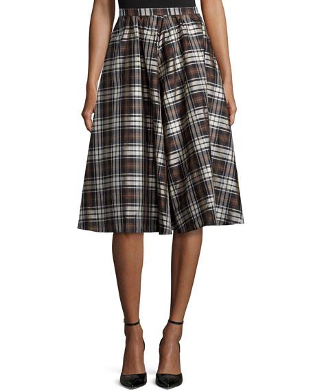 Michael Kors Plaid Dirndl Skirt, Black/Nutmeg