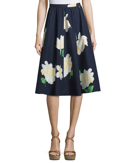 Michael Kors Floral-Print Dirndl Skirt, Indigo/White