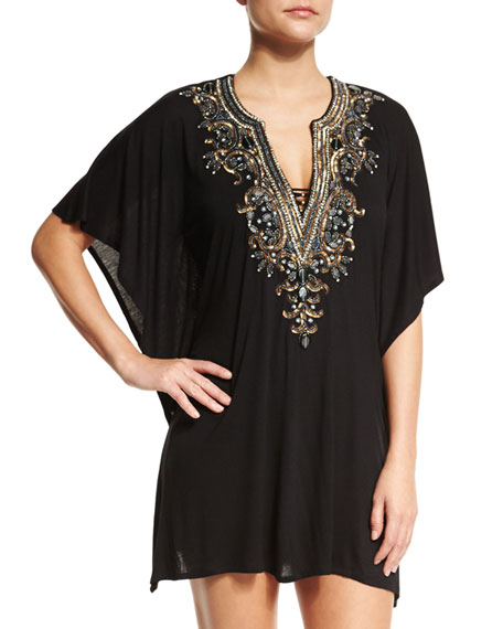 Luxe by Lisa Vogel Premier Embellished-Front Coverup Tunic