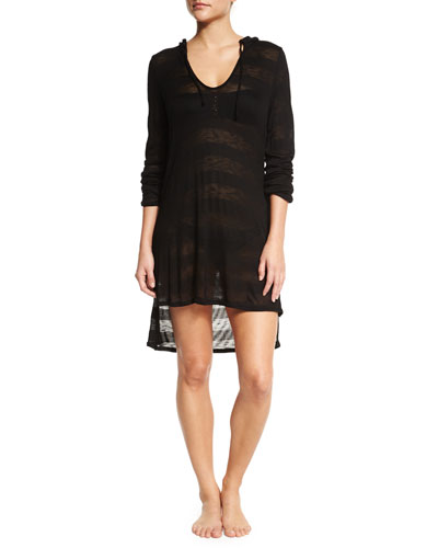 Fringe Benefits Tonal-Stripe Coverup