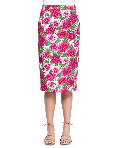 Michael Kors CollectionPeony-Print Knee-Length Pencil Skirt,