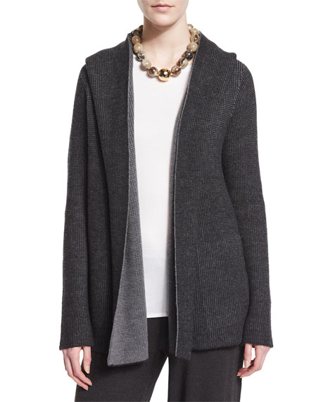 Eileen Fisher Plaited Thermal Hooded Cardigan