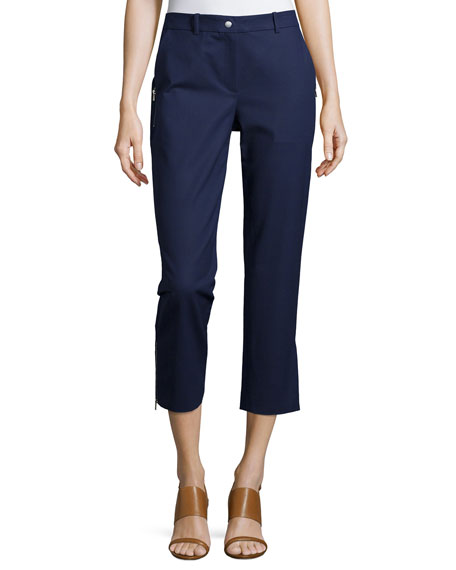 Michael Kors Collection Samantha Slim-Leg Cropped Pants, Indigo