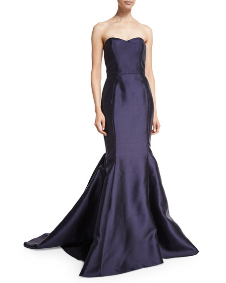 Badgley Mischka Strapless Bubble-Back Mermaid Gown, Navy