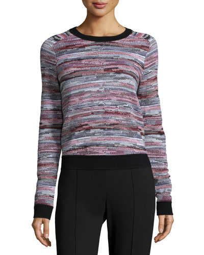 Lola Striped Pullover Sweater, Black Pattern