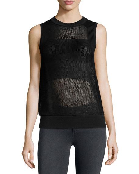 rag & bone/JEAN Shea Mesh Vest, Black