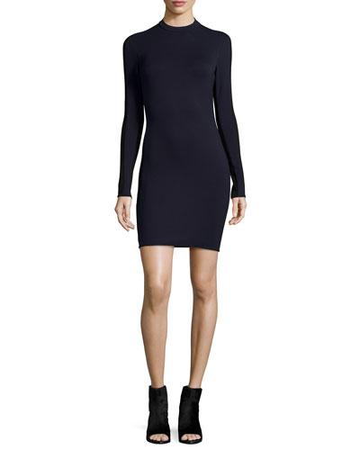 Reilly Long-Sleeve Sheath Dress, Navy