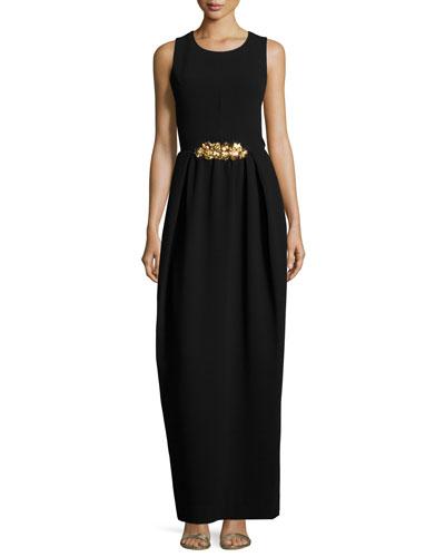 Sleeveless Crisscross-Back Gown, Black