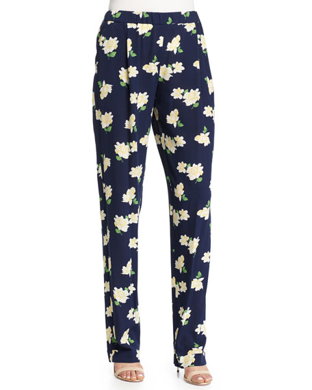 Michael Kors Collection Floral-Print Pajama-Style Pants