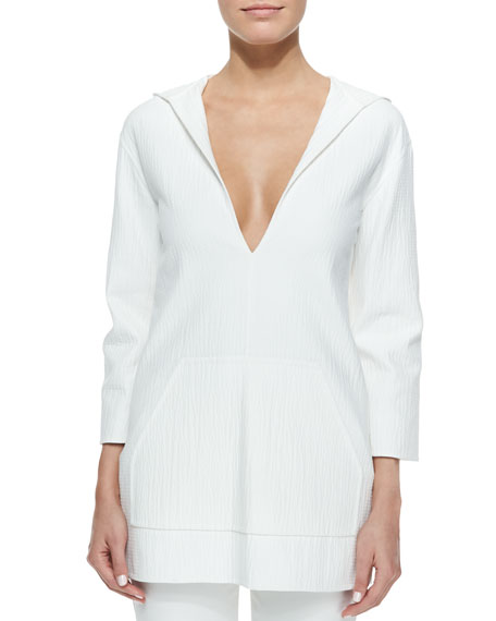 Michael Kors Hooded Deep V-Neck Tunic, Optic White