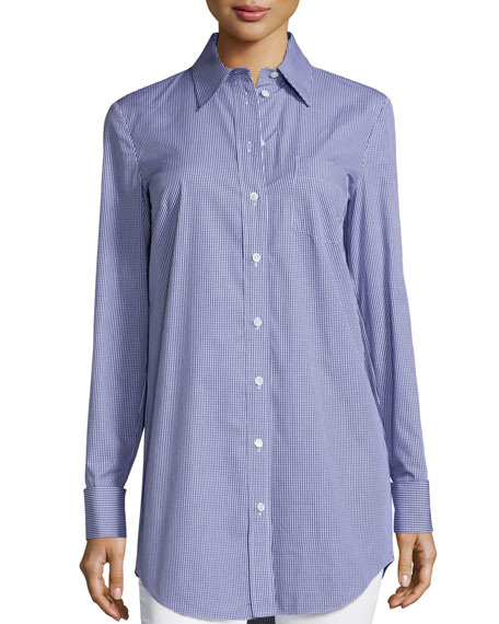 Michael Kors Collection French-Cuff Button-Front Shirt, Indigo/White