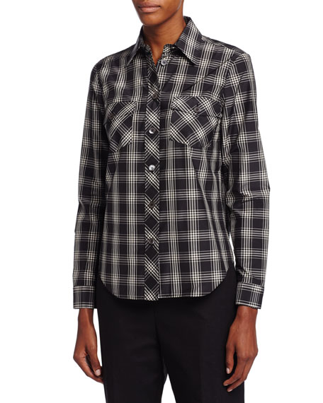Michael Kors Plaid Patch-Pocket Shirt, Black/Muslin