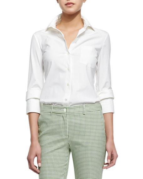 Michael Kors Double-Cuff Button Blouse, Optic White