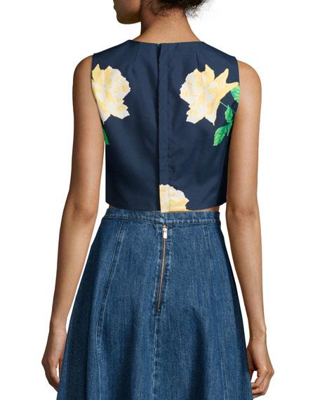 Sleeveless Rose Crop Top, Indigo/Daffodil