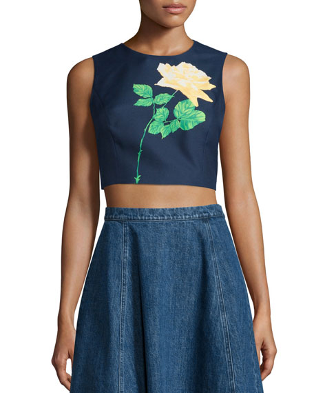 Michael Kors Sleeveless Rose Crop Top, Indigo/Daffodil