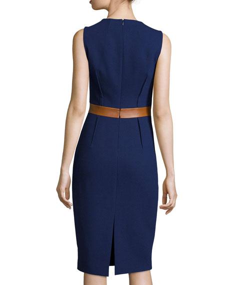 Sleeveless Two-Tone Sheath Dress, Indigo