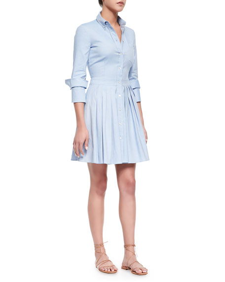 Michael Kors Oxford Double-Cuff Shirtdress, Sky Blue