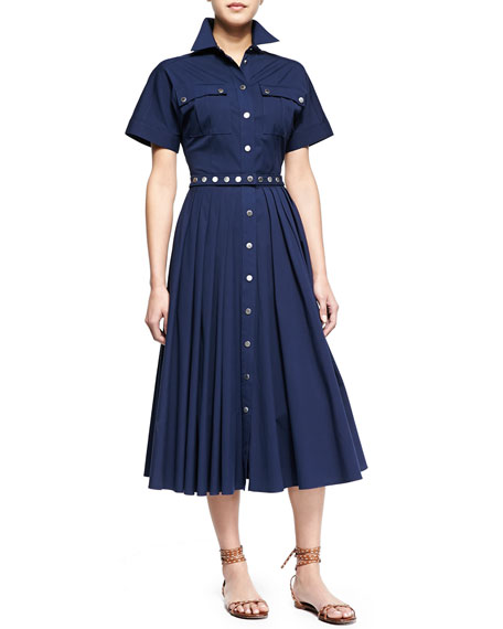 Michael Kors Utility Snap-Front Shirtdress, Indigo
