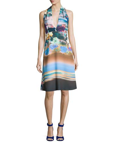 Floral Whisper Halter Dress, Multicolor