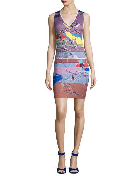 Clover Canyon Sleeveless Coastal Currents Ponte Dress, Multicolor