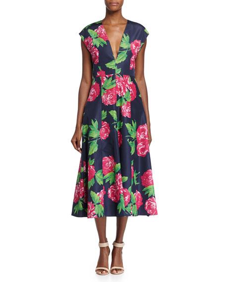 Michael Kors Collection Cap-Sleeve Begonia-Print Dress,