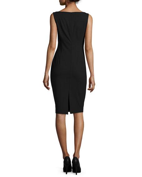 Sleeveless V-Neck Sheath Dress, Black