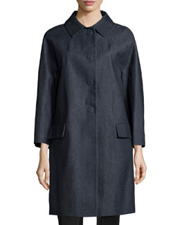 Bracelet-Sleeve Denim Balmacaan Coat, Indigo