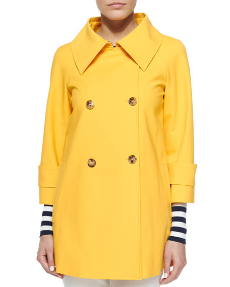 Michael Kors Collection Double-Breasted Raincoat, Daffodil