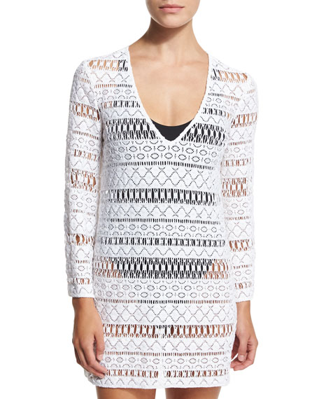 Milly Mykonos Crocheted Long-Sleeve Tunic Coverup