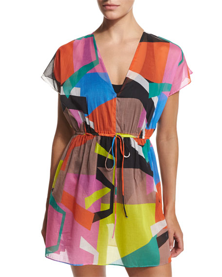 Milly Mauritius Printed V-Neck Coverup Tunic/Dress