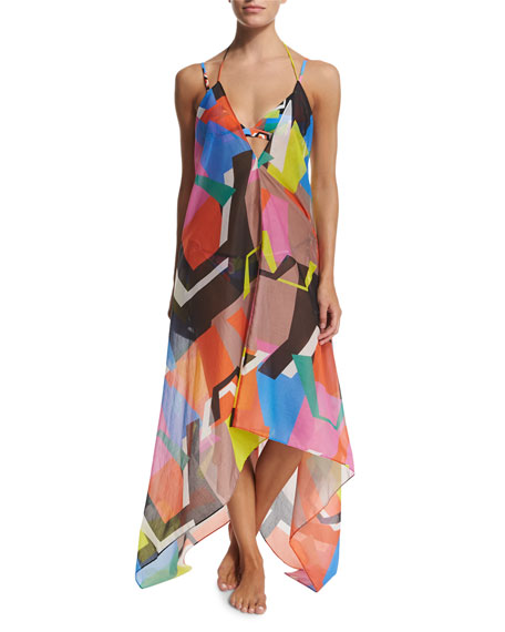 Milly Katrina Printed Halter Coverup Dress