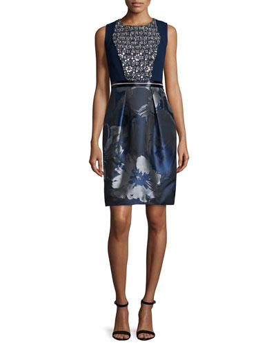 Carmen Marc Valvo Embellished Floral-Print Cocktail Dress,
